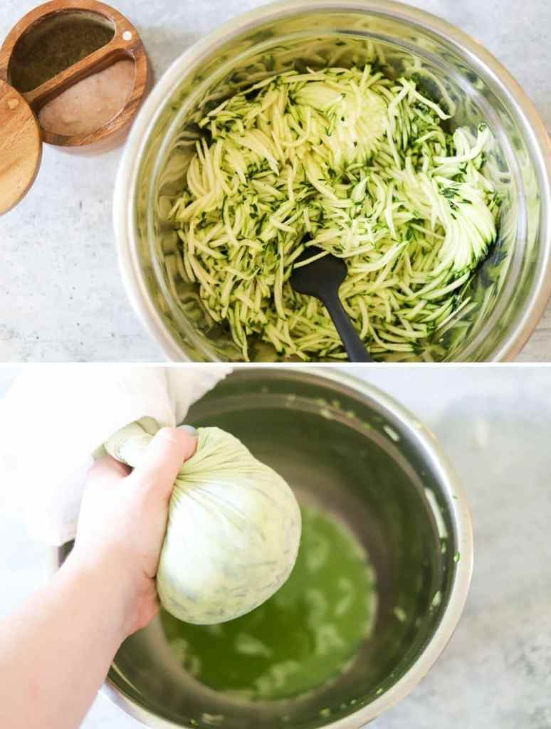 a two image collage showing the first few steps for making zucchini tots