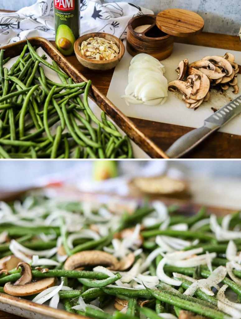 a two image collage showing the steps for making roasted green beans almondine