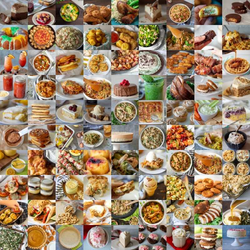 Photo collage with all the recipes published on this site n 2019