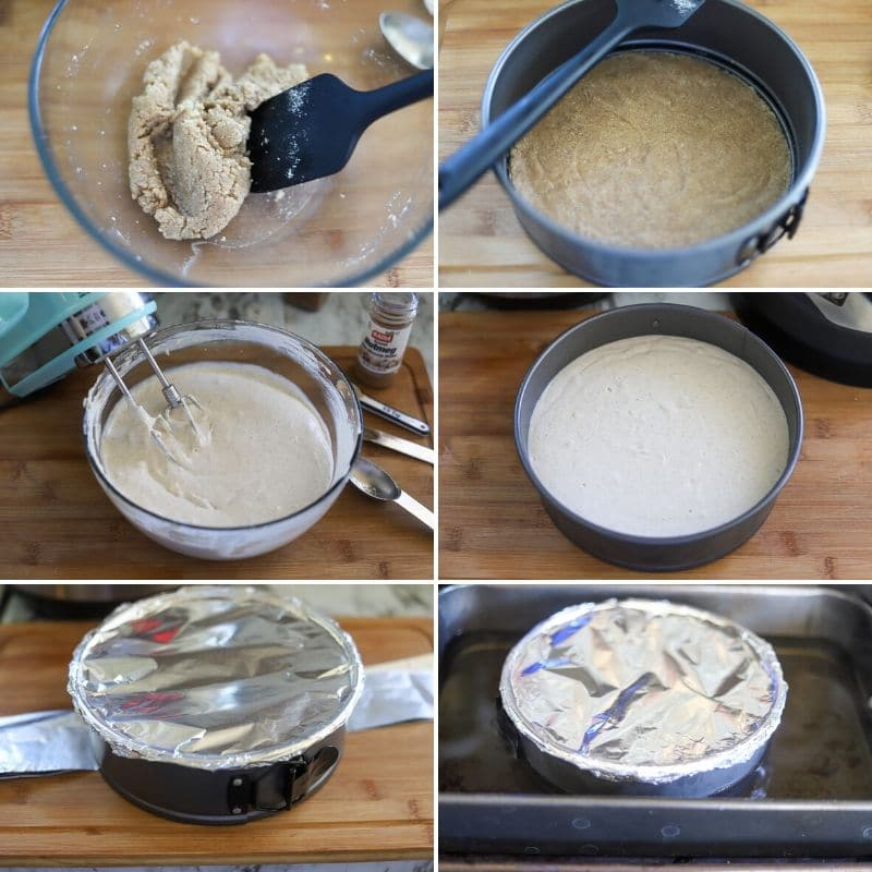 A six image collage showing the steps for making a keto eggnog cheesecake