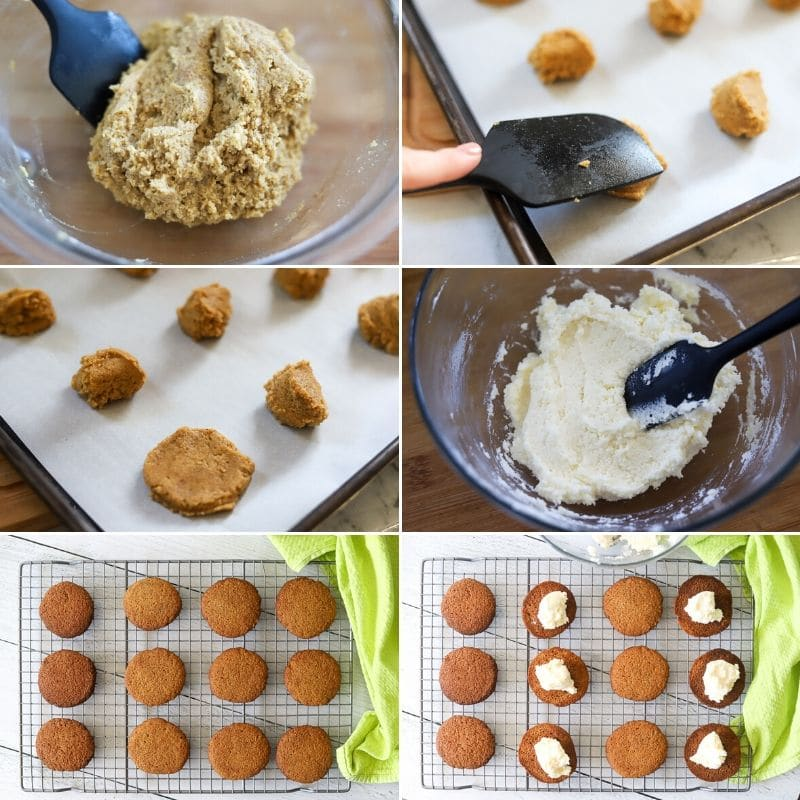 a six image collage showing how to make keto gingerbread cookie whoopie pies