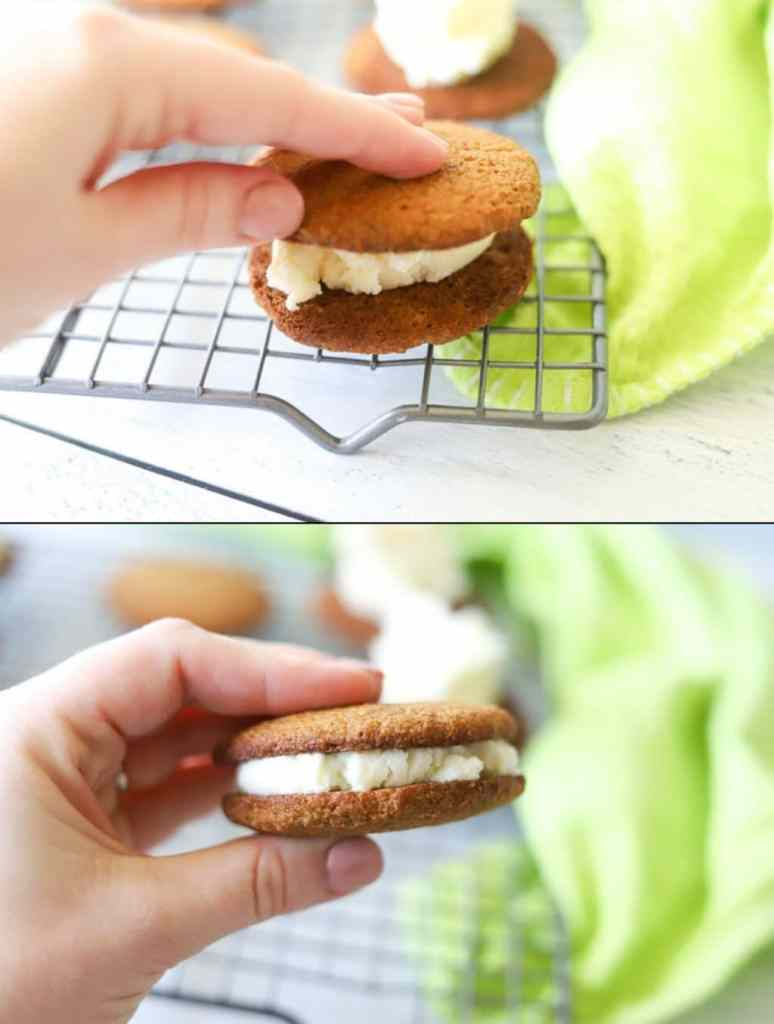 a two image collage showing how to place the frosting on low carb gingerbread cookies