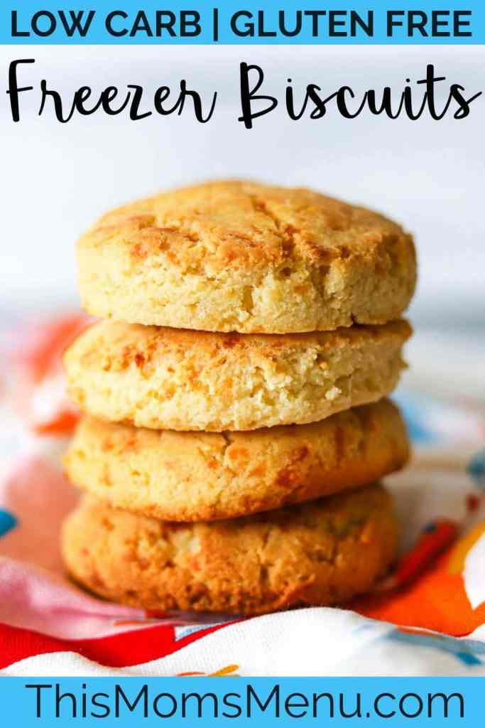 A stack of low carb biscuits with text overlay