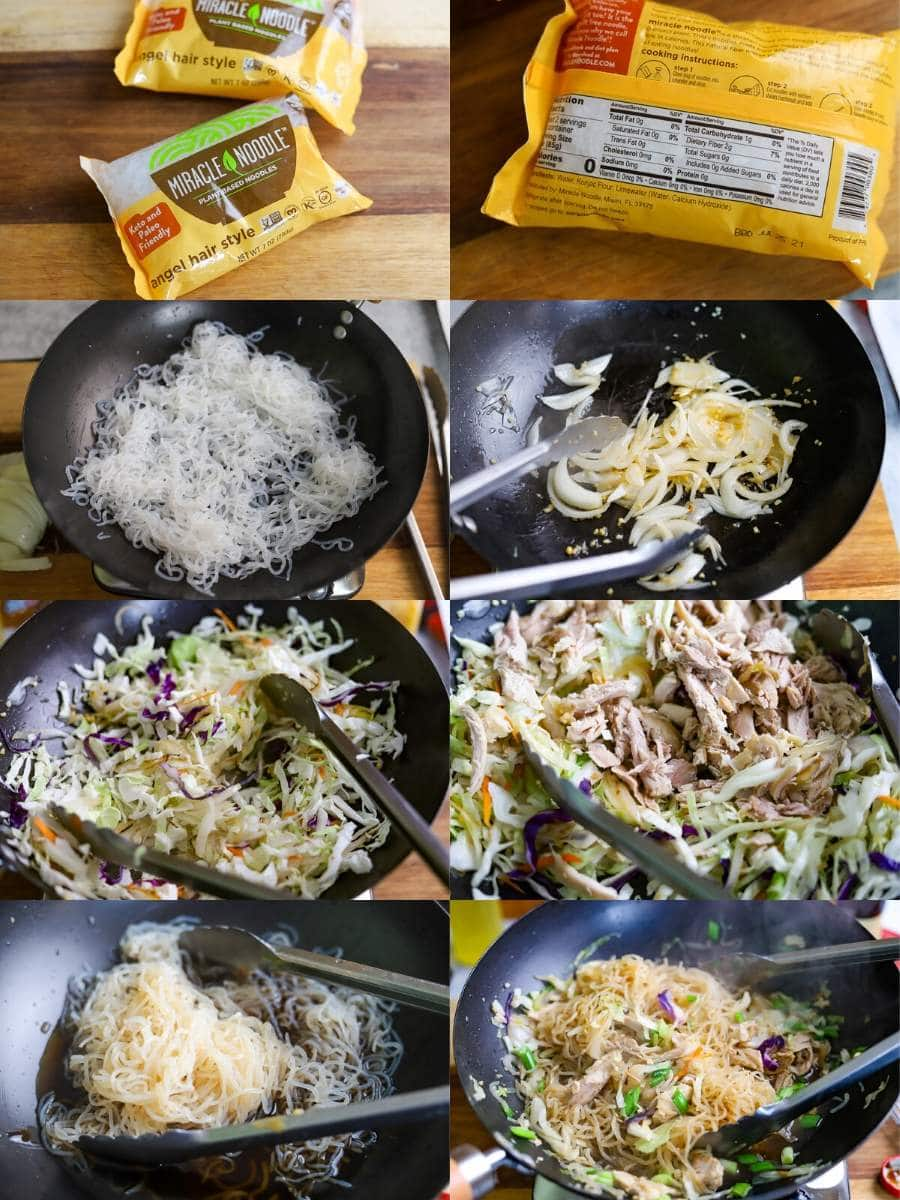 an 8 image photo collage showing the steps for making easy and healthy Filipino Pancit