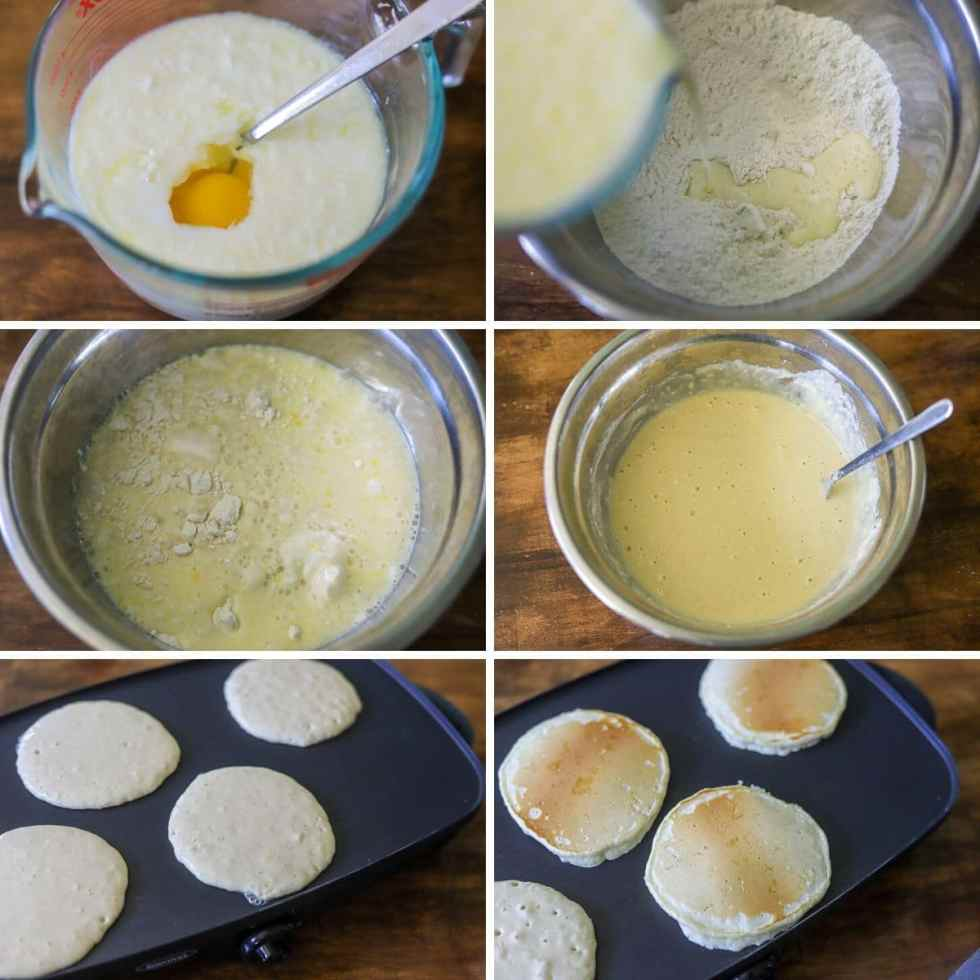 a six image collage showing the steps for making classic homemade pancakes.