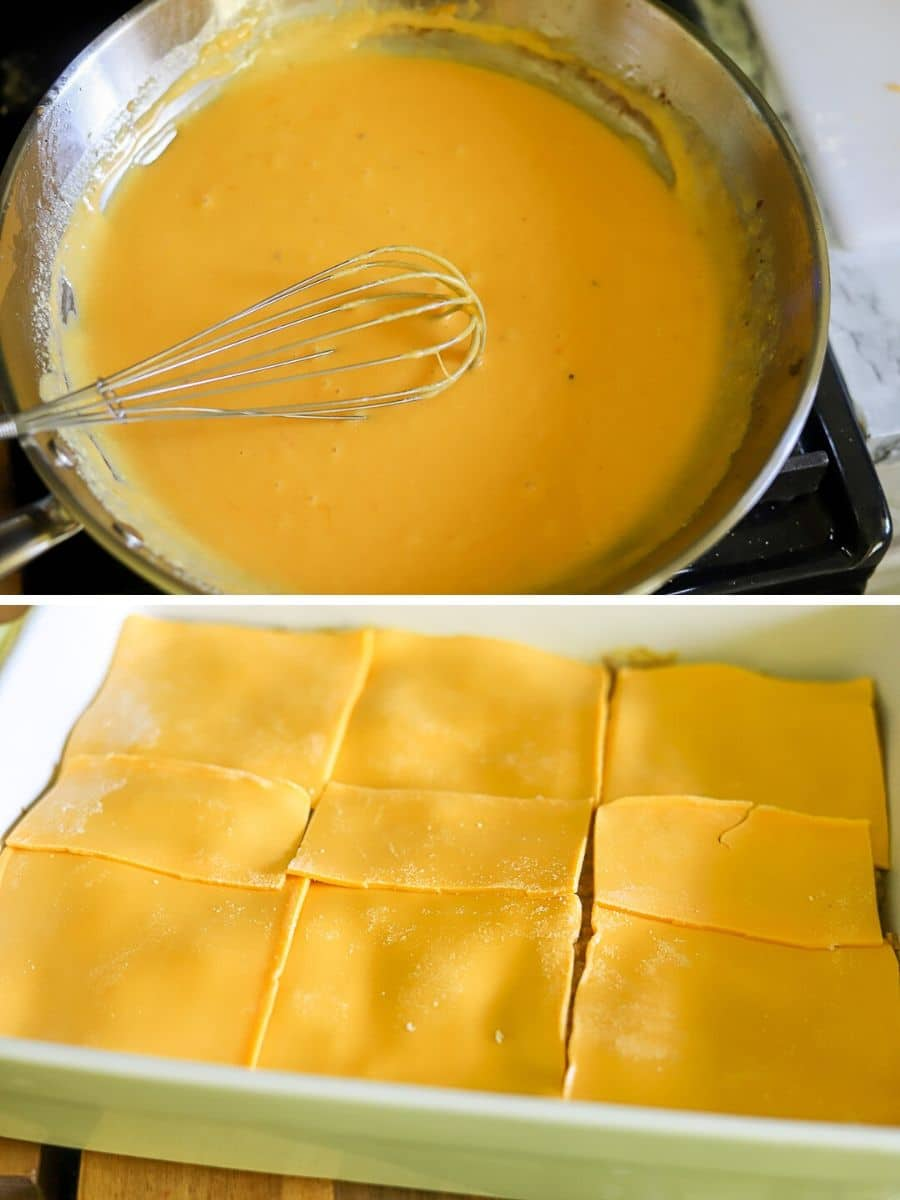 a two image collage showing some of the steps for making a cheeseburger casserole