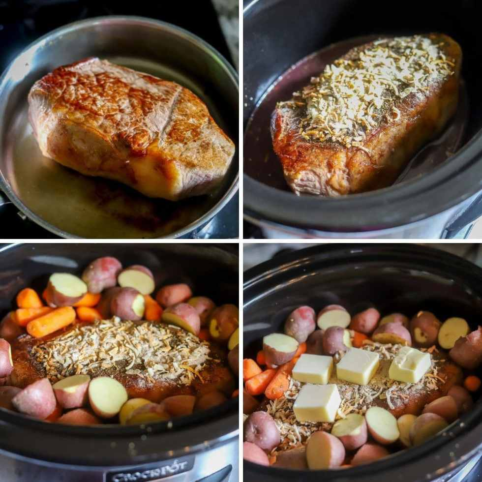 a four image collage showing the steps for making a red wine beef roast with carrots and potatoes