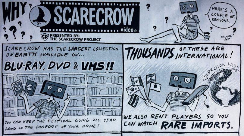 """Why Scarecrow Video?"" flyer by Marc Palm"