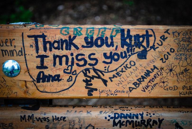 "The ""Kurt Cobain Bench"" at Viretta Park, Seattle"
