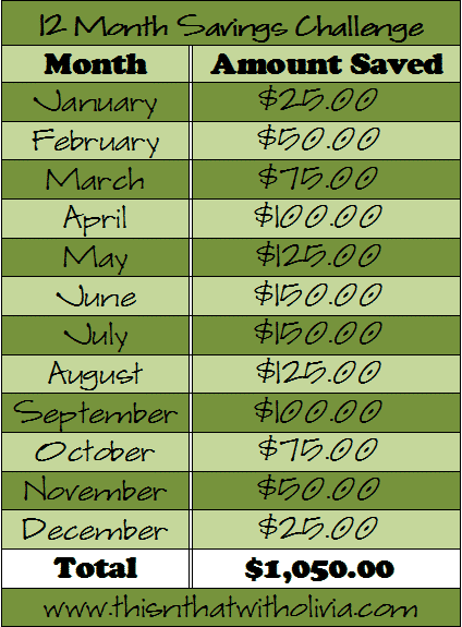 12 Month Savings Challenge 1