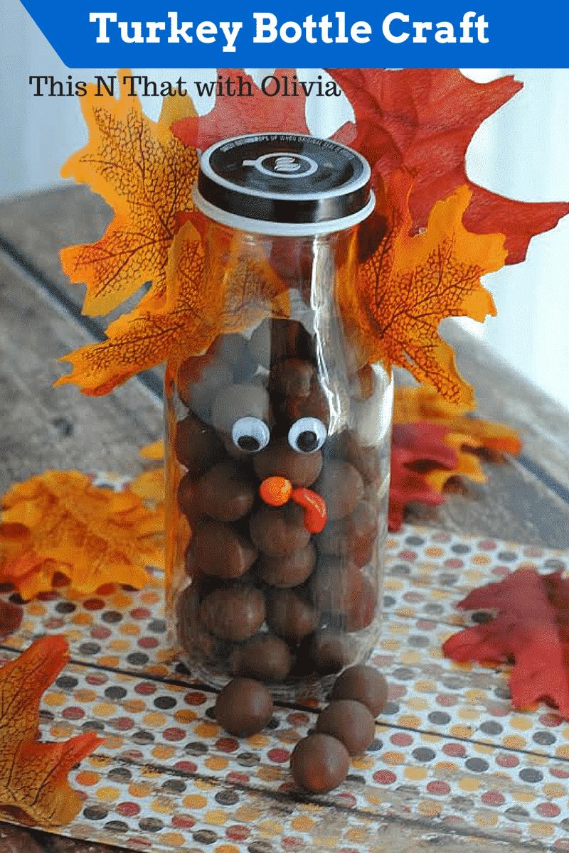 Turkey Bottle Craft Diy Thanksgiving Turkey Craft