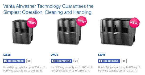Airwasher sizes
