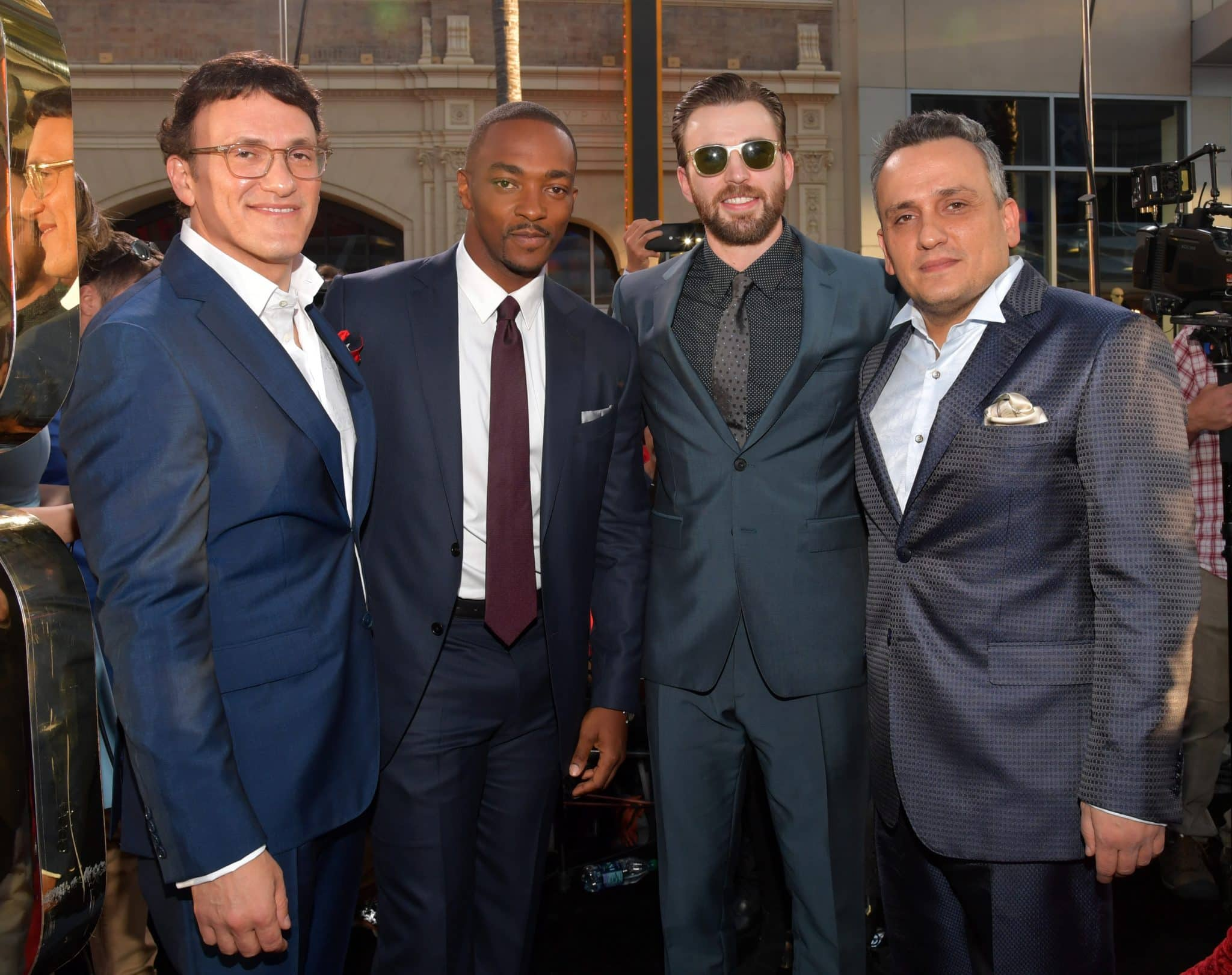 """HOLLYWOOD, CALIFORNIA - APRIL 12: (L-R) Director Anthony Russo, actors Anthony Mackie, Chris Evans and director Joe Russo attend The World Premiere of Marvel's """"Captain America: Civil War"""" at Dolby Theatre on April 12, 2016 in Los Angeles, California. (Photo by Lester Cohen/Getty Images for Disney) *** Local Caption *** Anthony Russo; Anthony Mackie; Chris Evans; Joe Russo"""