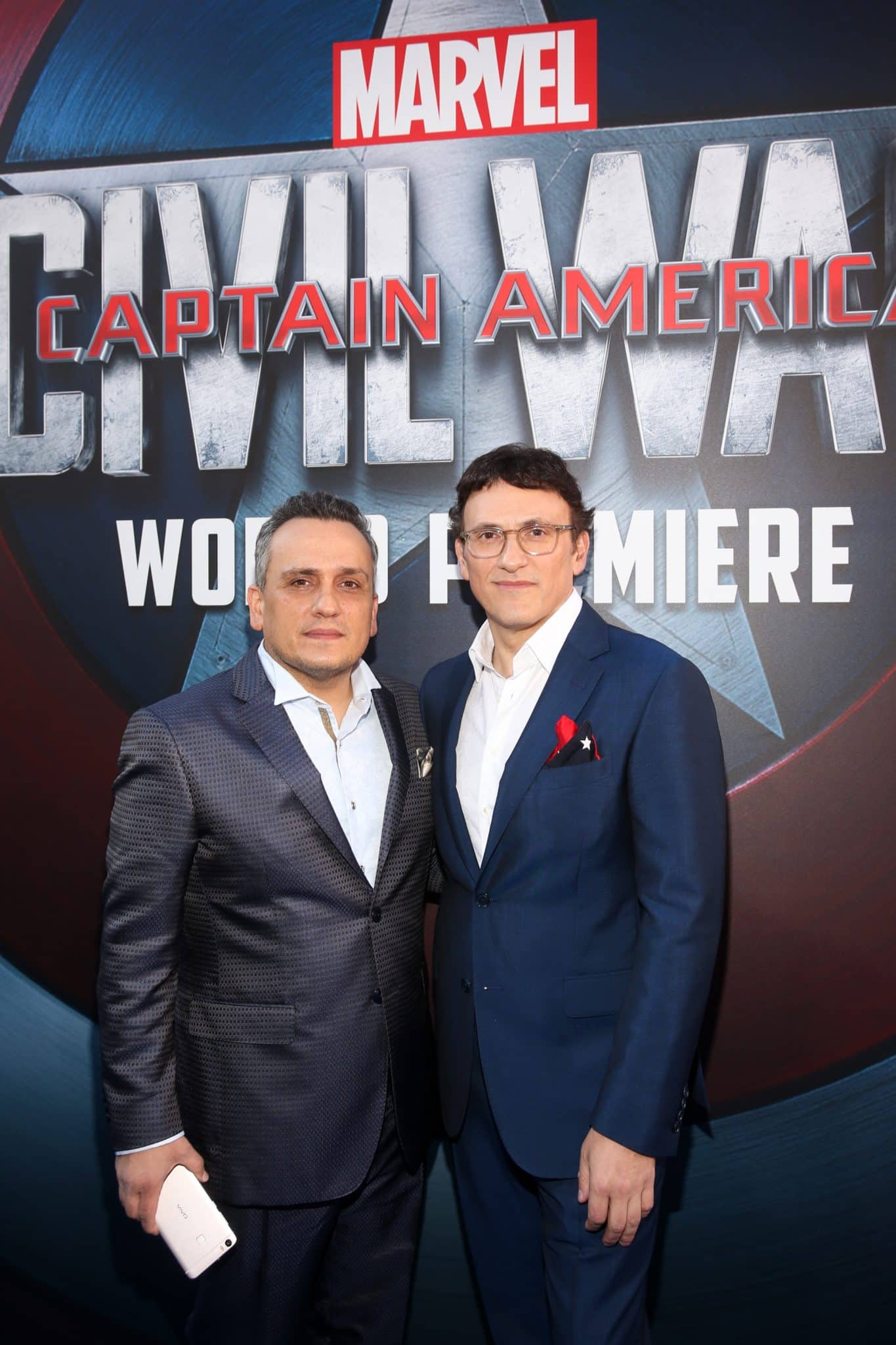 """HOLLYWOOD, CALIFORNIA - APRIL 12: Directors Joe Russo (L) and Anthony Russo attend The World Premiere of Marvel's """"Captain America: Civil War"""" at Dolby Theatre on April 12, 2016 in Los Angeles, California. (Photo by Jesse Grant/Getty Images for Disney) *** Local Caption *** Joe Russo; Anthony Russo"""