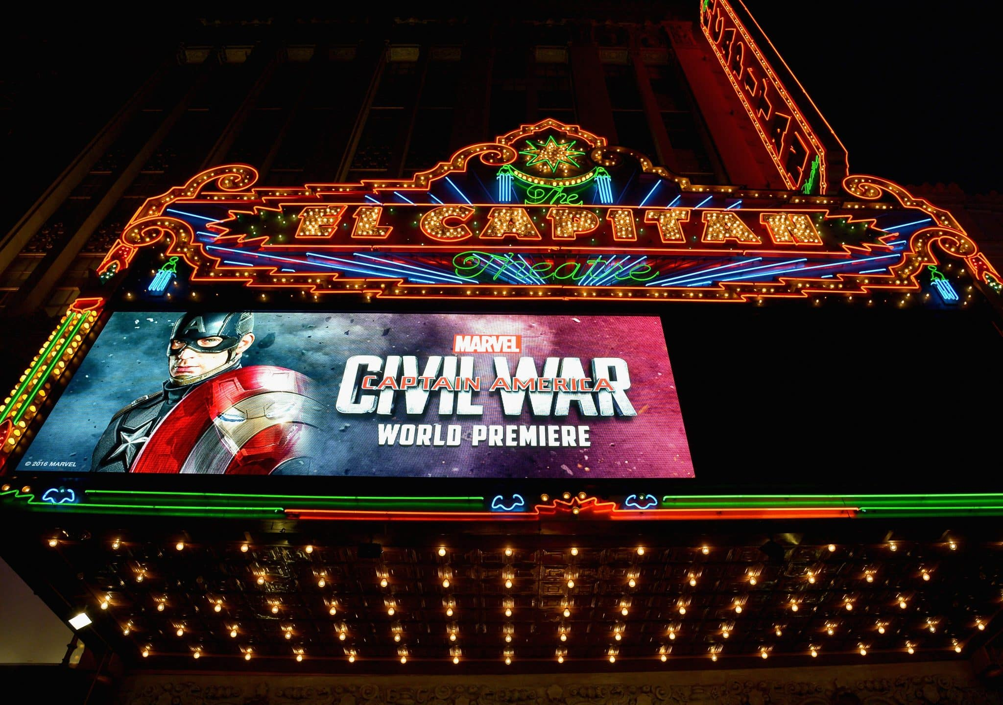"""HOLLYWOOD, CALIFORNIA - APRIL 12: A view of the atmosphere at The World Premiere of Marvel's """"Captain America: Civil War"""" at Dolby Theatre on April 12, 2016 in Los Angeles, California. (Photo by Charley Gallay/Getty Images for Disney)"""