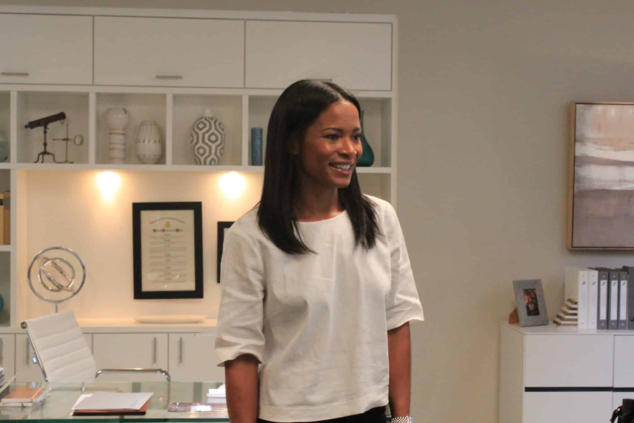 Rose Rollins in her Office on The Catch Set