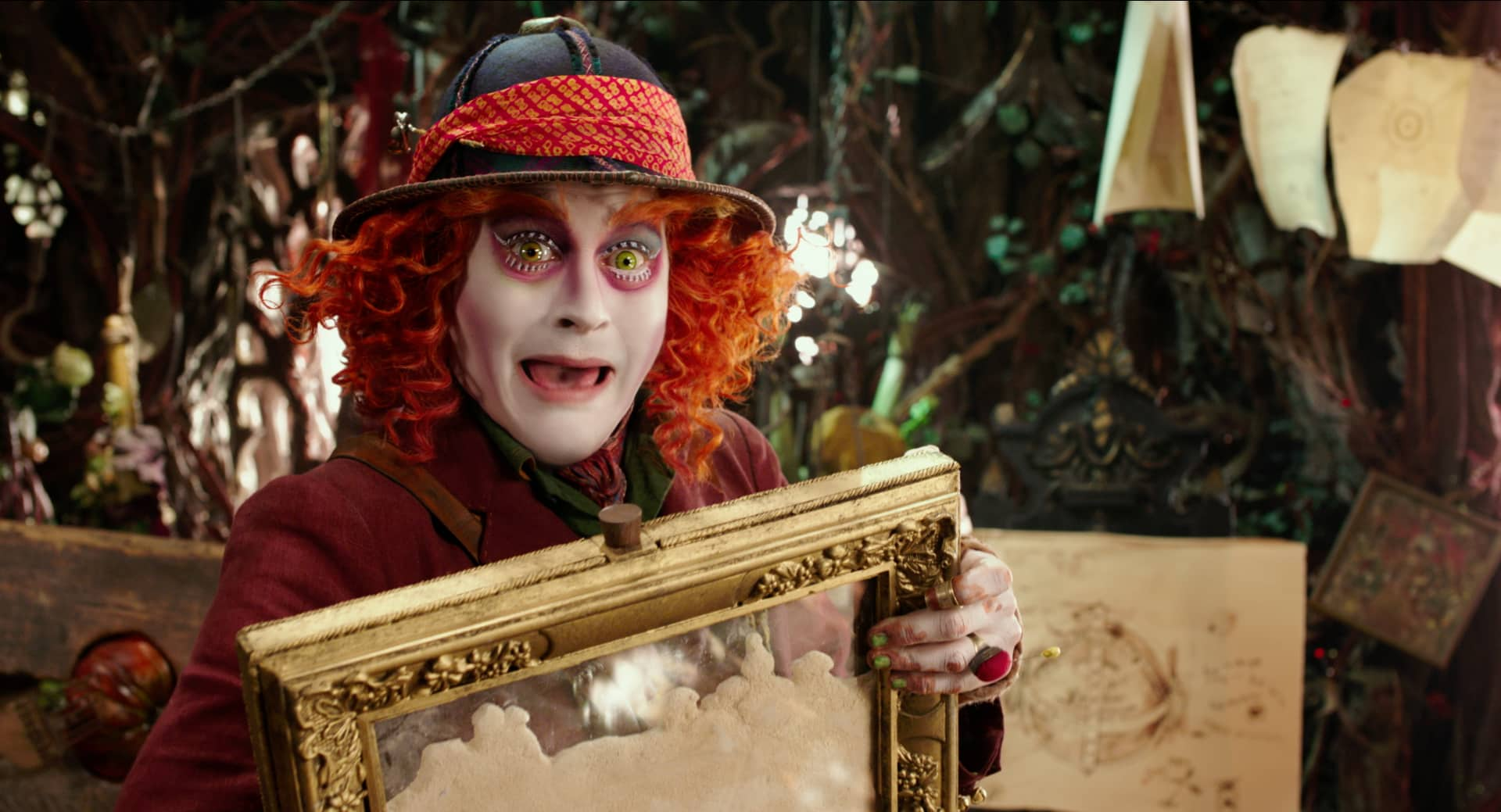 Johnny Depp is Hatter in Disney's ALICE THROUGH THE LOOKING GLASS, an all new adventure featuring the characters from Lewis Carroll's beloved stories..