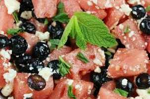 Watermelon Blueberry Feta Salad | ThisNThatwithOlivia.com