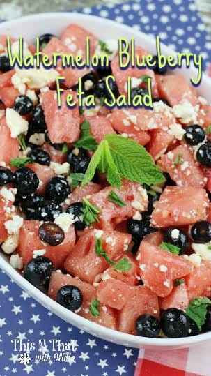 Watermelon Blueberry Feta Salad | ThisNThatwithOlivia.com