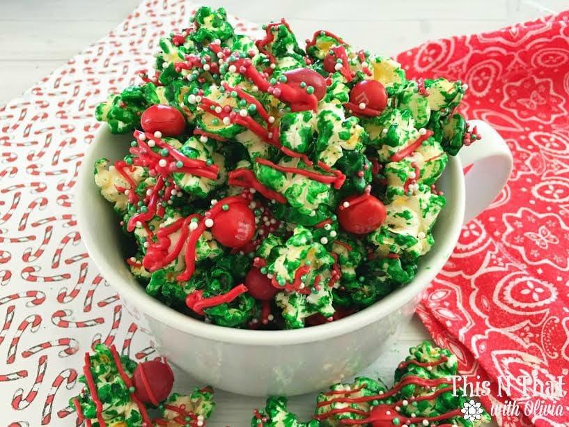 Homemade Christmas Popcorn Recipe   ThisNThatwithOlivia.com
