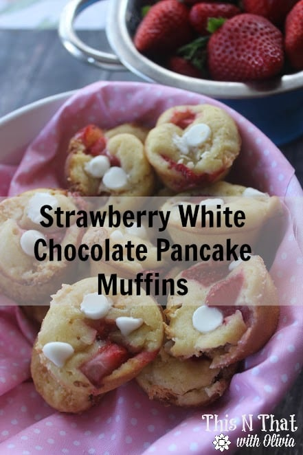 Strawberry White Chocolate Pancake Muffins | ThisNThatwithOlivia.com