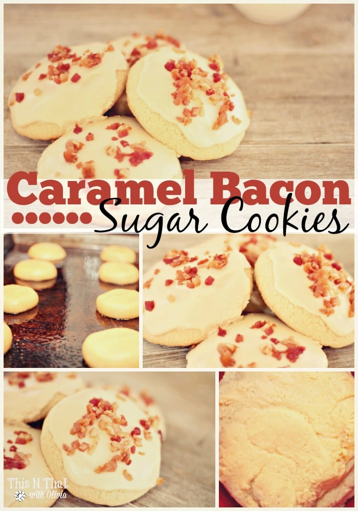 Caramel Bacon Bit Sugar Cookies #Cookies #Dessert #Bacon