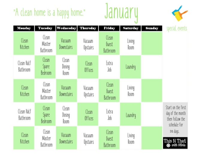 FREE 5 Minute Cleaning Checklist + Monthly Cleaning Calendar