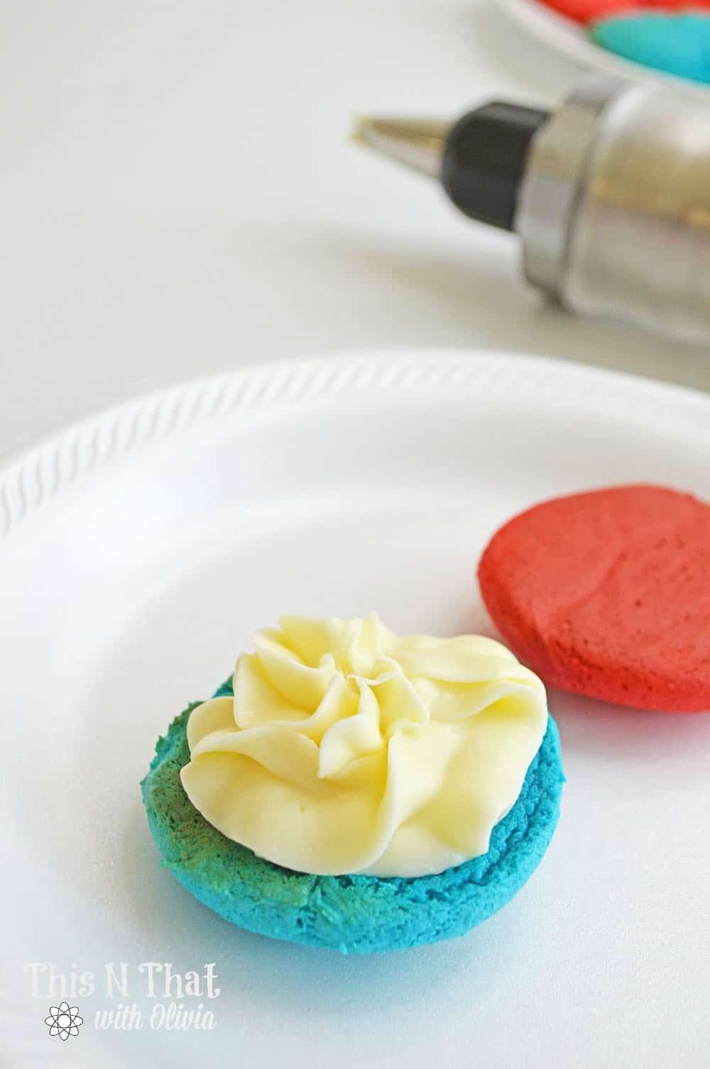 Patriotic Cake Mix Cookie Sandwiches