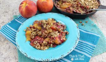 Skillet Peach Raspberry Crisp Recipe!