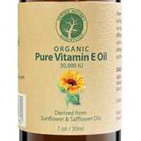 Vitamin E Oil PURE Organic d-alpha tocopherol 30,000 IU - 1 Ounce, Derived from non-GMO Sunflower/Safflower Oil, Soy-Free and Wheat-Free.