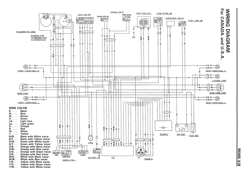 medium resolution of wiring diagram for the dr350 s 1990 and later models canada usa rh thisoldtractor com gsxr 600 wiring diagram peterbilt wiring diagram