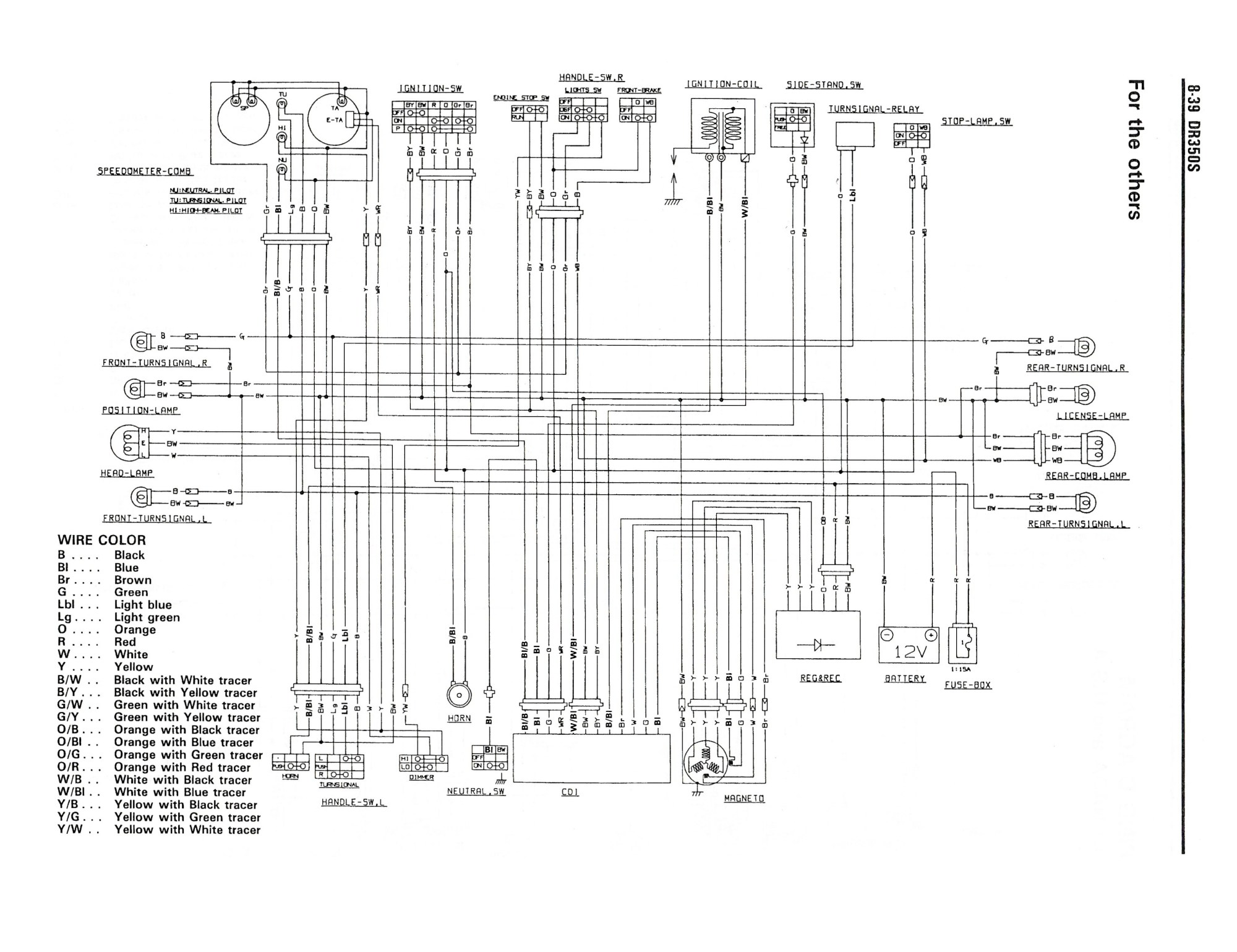 hight resolution of wiring diagram for the dr350 s 1990 and later models other suzuki gt250 wiring diagram