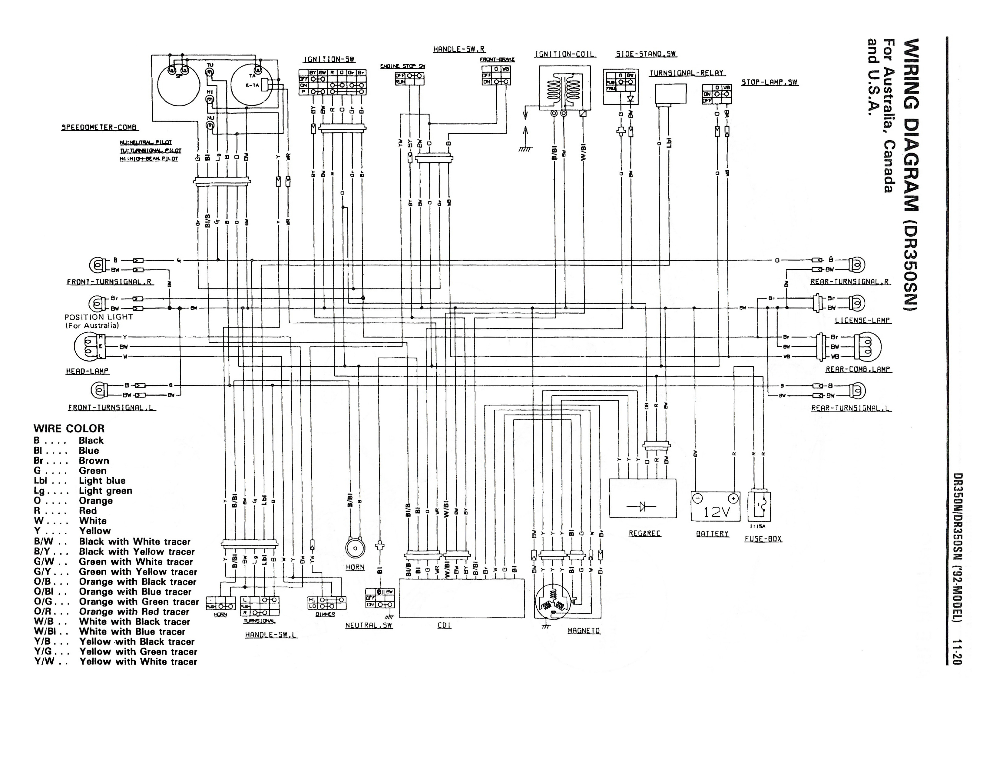 Wiring diagram for the DR350 S (1992 and later models