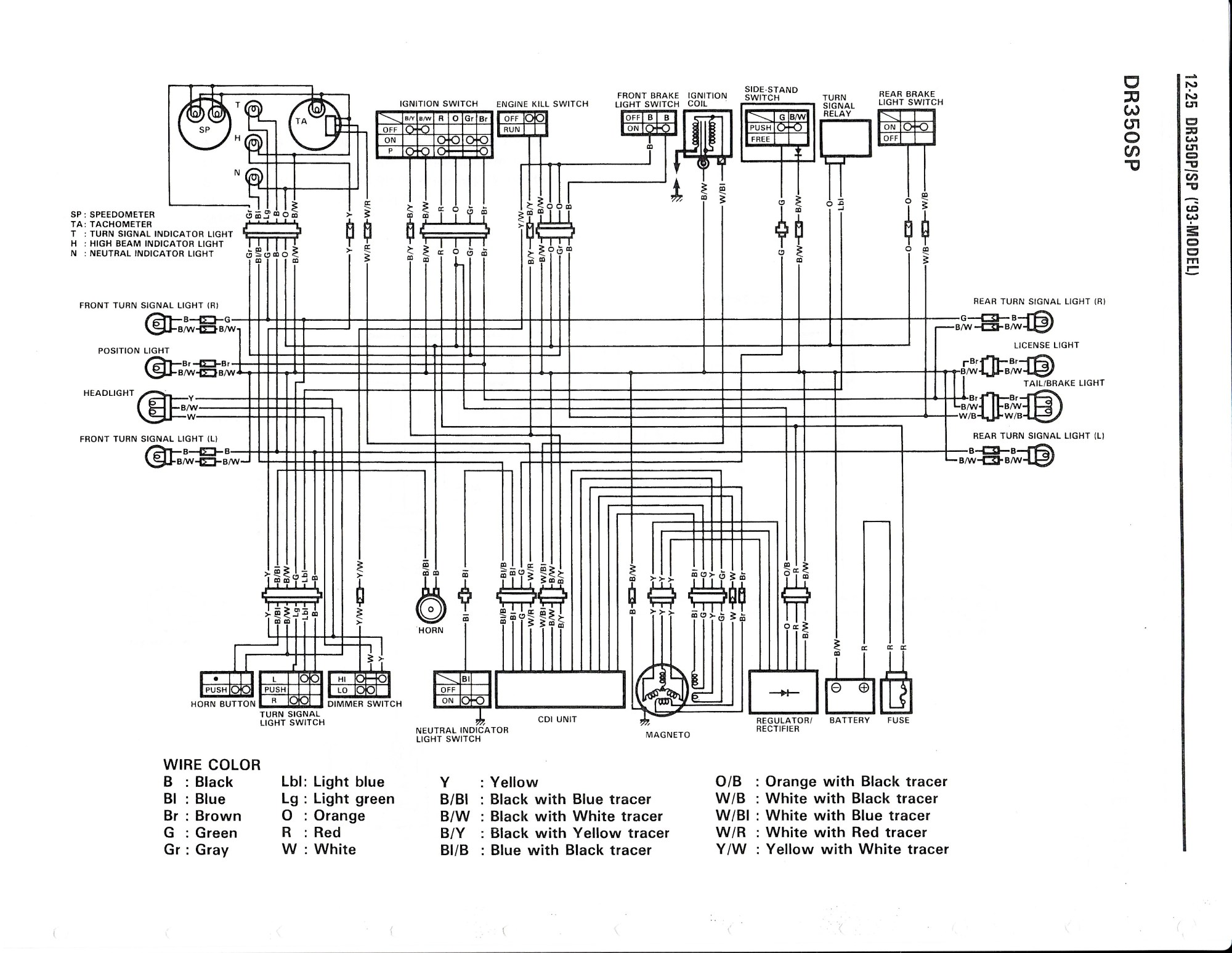 hight resolution of wiring diagram for the dr350 s 1993 and later models suzuki suzuki gsx600f wiring
