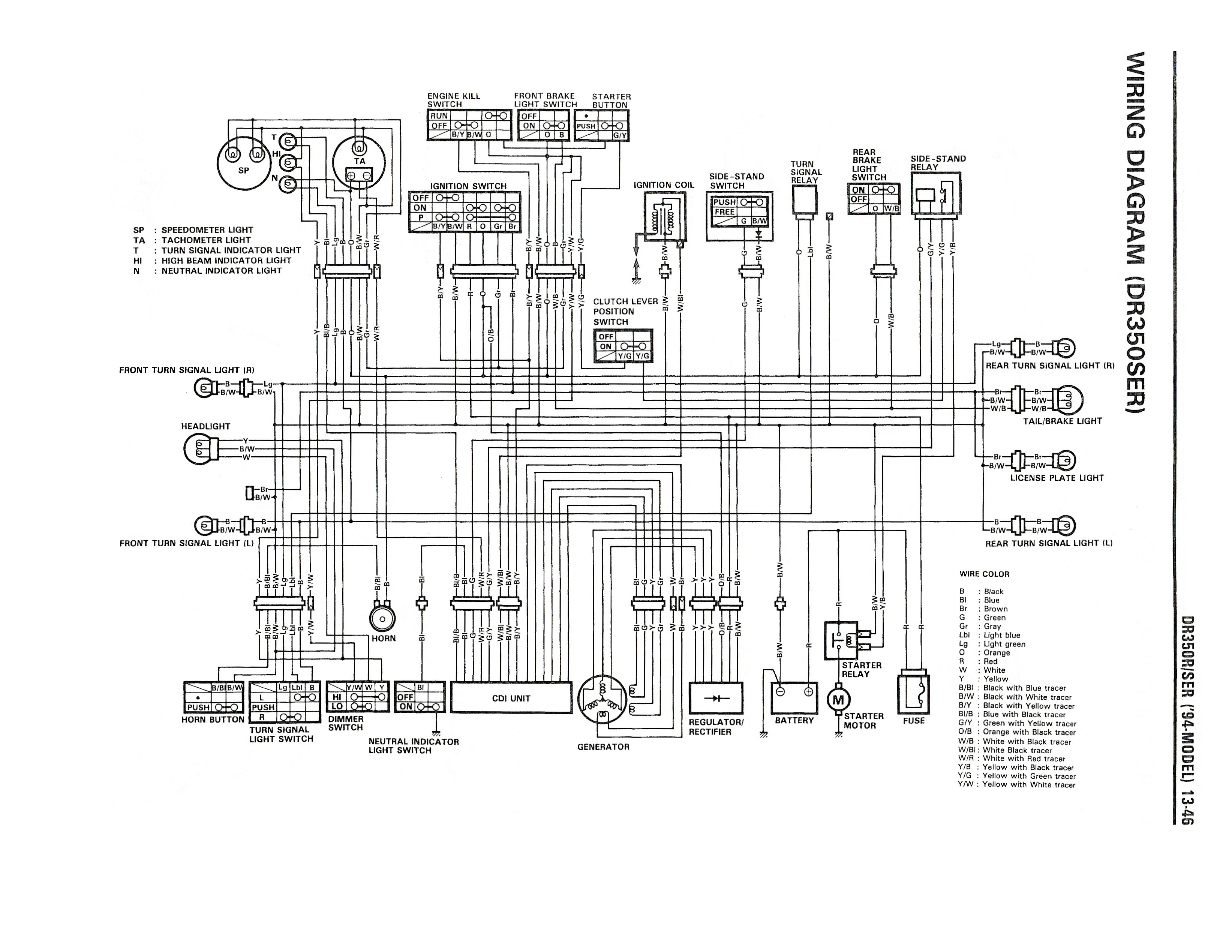 Wiring diagram for the DR350 SE (1994 and later models