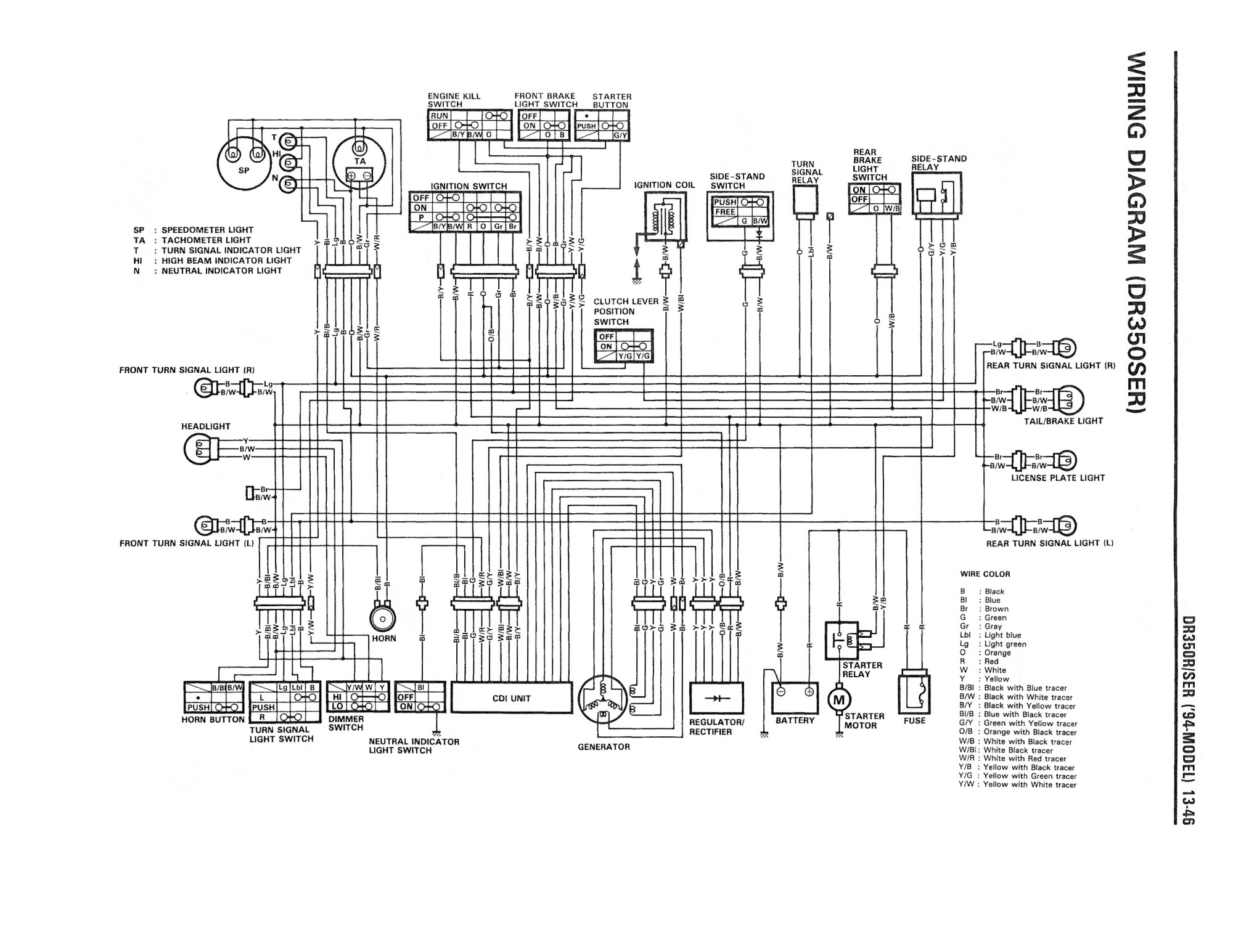 hight resolution of wiring diagram for the dr350 se 1994 and later models suzuki zx7r wiring