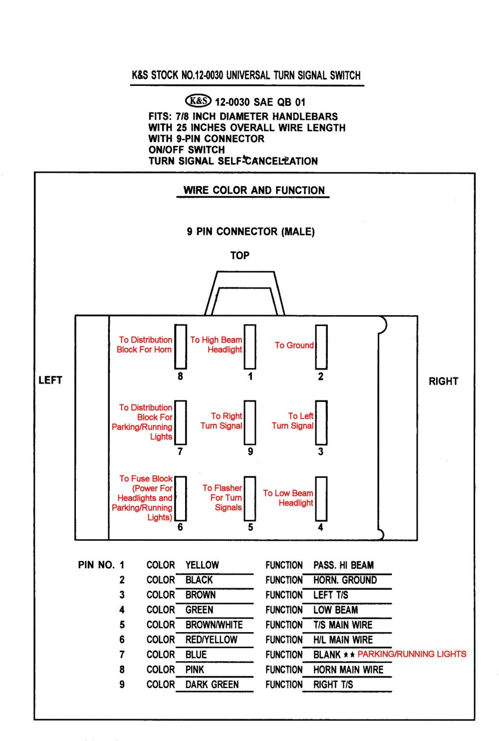 medium resolution of k s 12 0030 universal handlebar switch back of card packaged with the switch