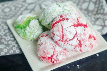Cake Mix Christmas Crinkle Cookies