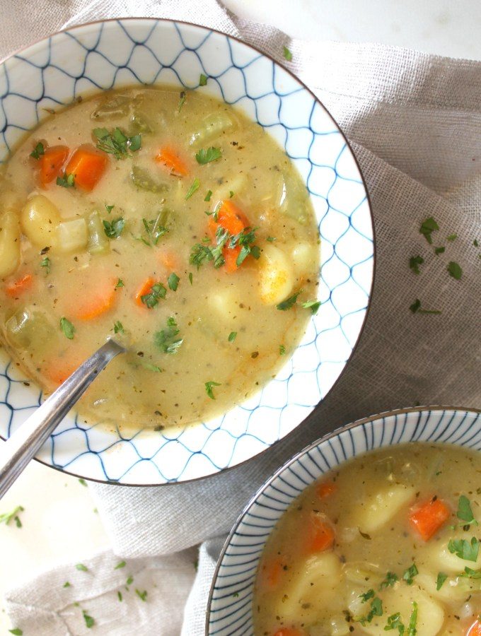 This Creamy Vegan Gnocchi Soup is an easy and comforting weeknight meal   ThisSavoryVegan.com