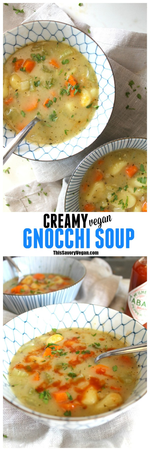 This Creamy Vegan Gnocchi Soup is an easy and comforting weeknight meal | ThisSavoryVegan.com