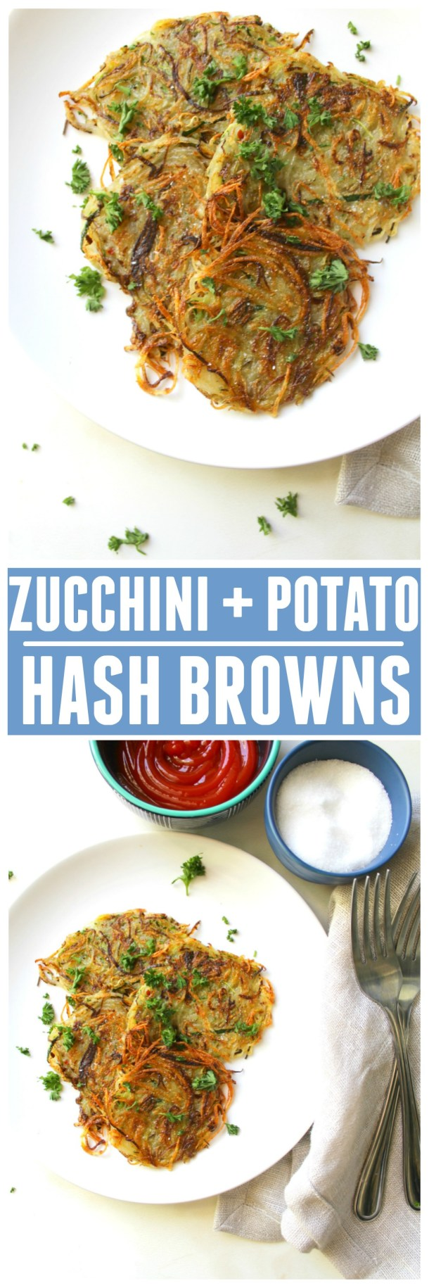 Make a breakfast classic a little healthier with these Zucchini Potato Hash Browns | ThisSavoryVegan.com