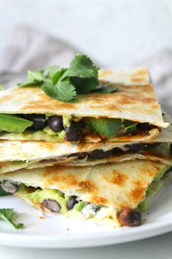 These vegan Avocado Black Bean Quesadillas are a healthy version of a take-out classic   ThisSavoryVegan.com