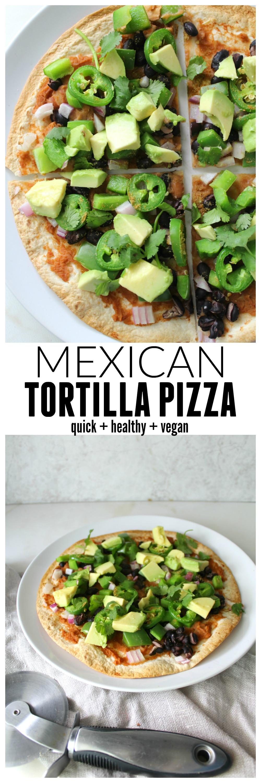 This Vegan Mexican Tortilla Pizza takes less than 20 minutes | ThisSavoryVegan.com
