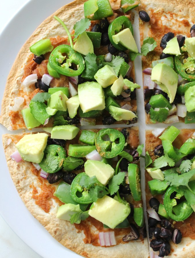 This Vegan Mexican Tortilla Pizza takes less than 20 minutes   ThisSavoryVegan.com