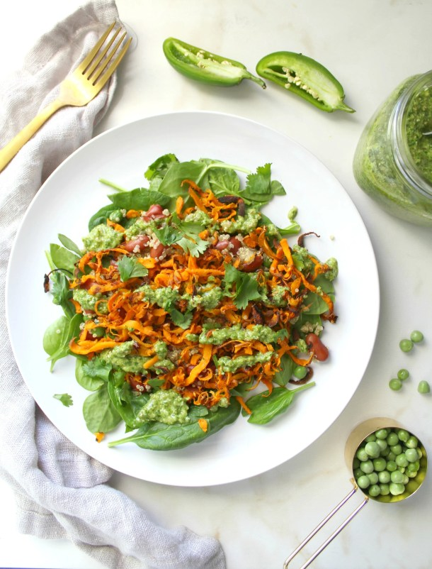 Sweet Potato Quinoa Salad with Vegan Cilantro Pesto | ThisSavoryVegan.com
