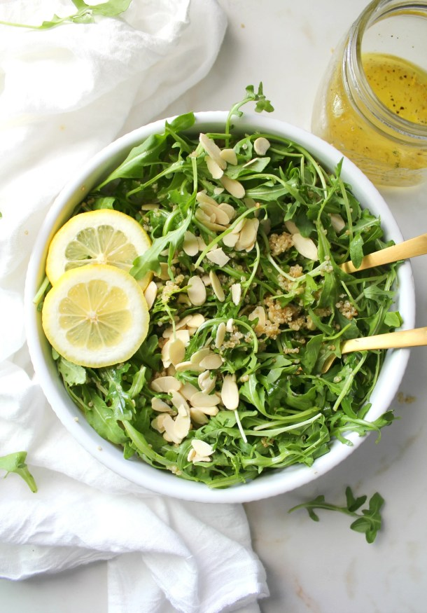 Quick, hearty and super healthy - this Quinoa Arugula Salad with Lemon Thyme Dressing is going to be your new favorite salad | ThisSavoryVegan.com
