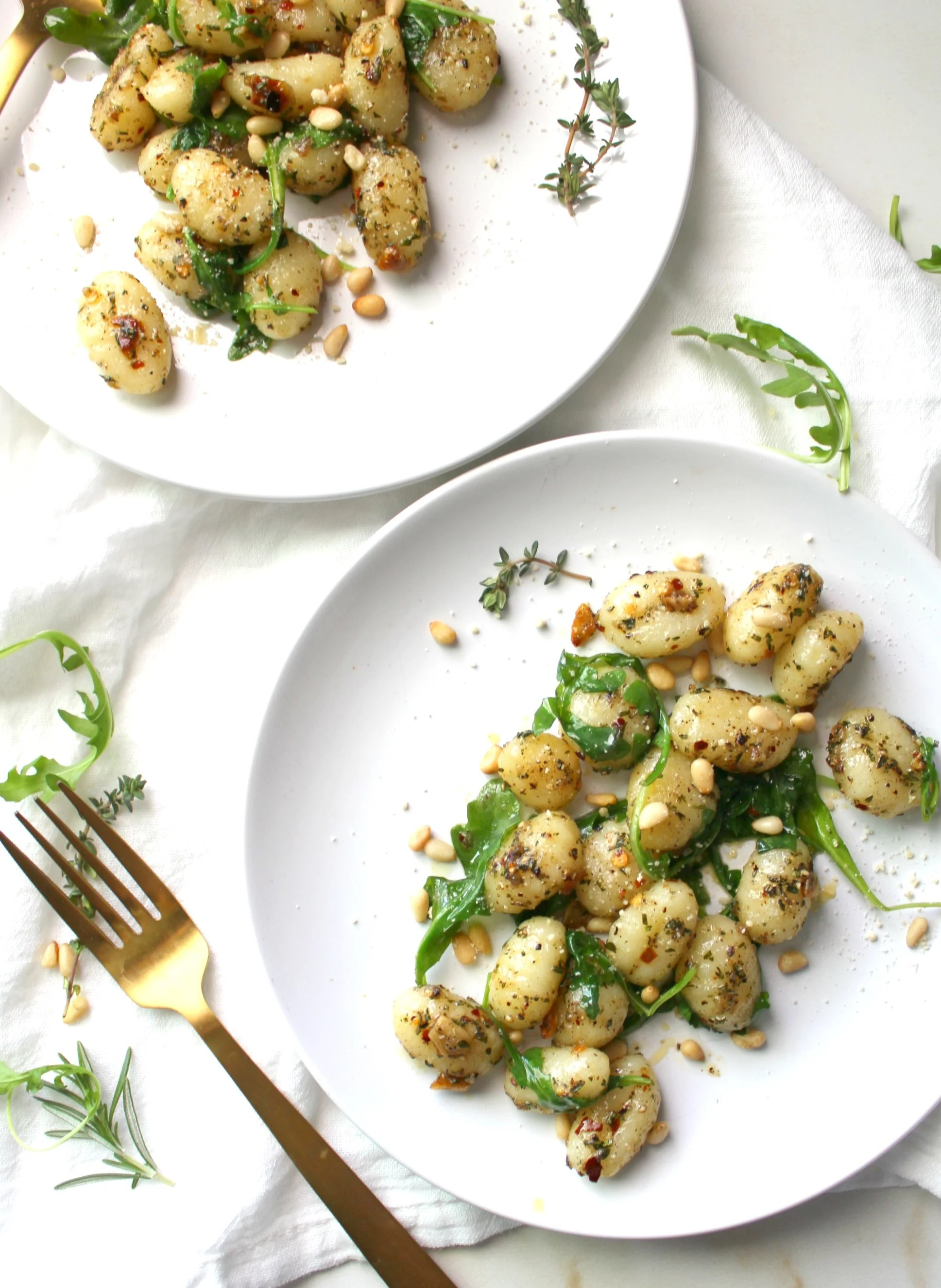 This Vegan Brown Butter Gnocchi with Fresh Herbs is a simple and flavorful dish. A savory meal that vegans and non-vegans will definitely enjoy | ThisSavoryVegan.com