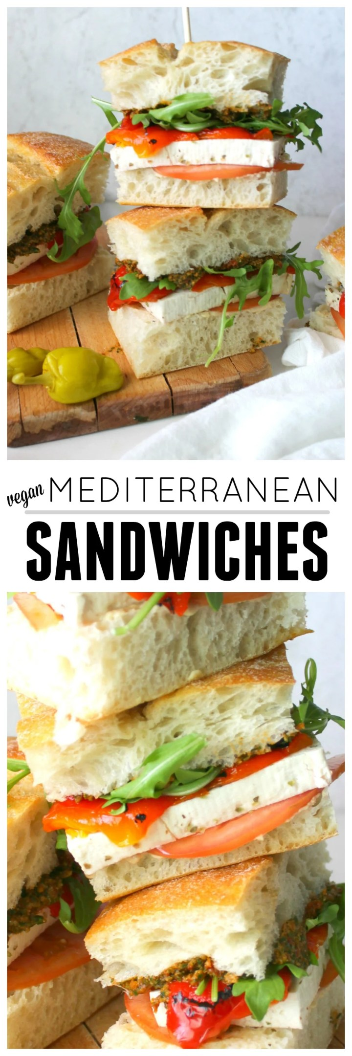 These Vegan Mediterranean Sandwiches are packed with sun-dried tomato & basil spread, roasted red peppers and marinated tofu   ThisSavoryVegan.com