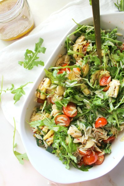 Load up on summer flavors with this Vegan Orzo Pasta Salad with Grilled Veggies. Perfect side for BBQs and pool parties | ThisSavoryVegan.com #thissavoryvegan #summersalad #pastasalad