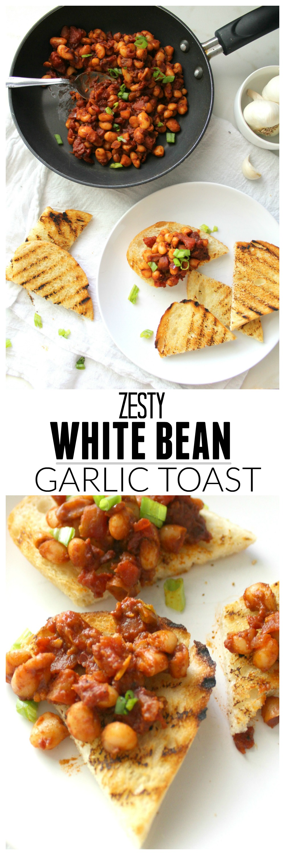 Perfect for breakfast, brunch or a snack, this Zesty White Bean Garlic Toast takes less than 15 minutes and is a filling and healthy choice | ThisSavoryVegan.com
